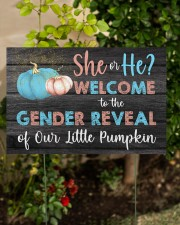 Pumpkin She or He Welcome Gender Reveal 18x12 Yard Sign aos-yard-sign-18x12-lifestyle-front-06