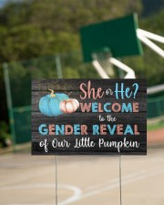 Pumpkin She or He Welcome Gender Reveal 18x12 Yard Sign aos-yard-sign-18x12-lifestyle-front-18