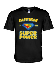 AUTISM IS MY SUPER POWER AUTISM AWARENESS DAY V-Neck T-Shirt thumbnail