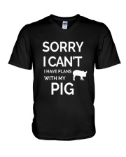 SORRY I CANT I HAVE PLANS WITH MY PIG V-Neck T-Shirt thumbnail