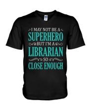 SUPERHERO LIBRARIAN CLOSE ENOUGH V-Neck T-Shirt thumbnail