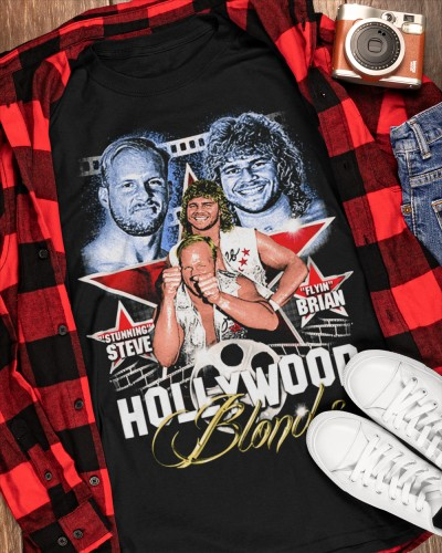 Stunning Steve Austin and Flyin Brian Pillman Hollywood blonds shirt