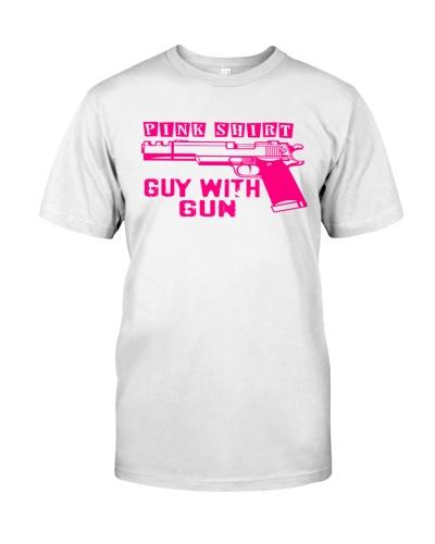 pink shirt guy with gun