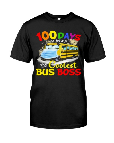 100 Days Of Being The Coolest Bus Boss Yellow Bus shirt