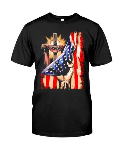 Cross Christ Jesus God America Flag Shirt