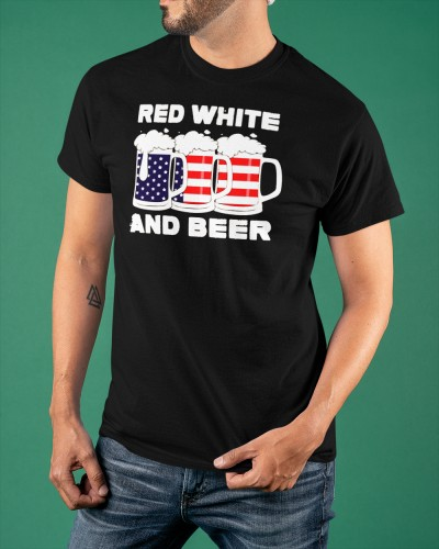 fourth of july red white and beer american flag shirt