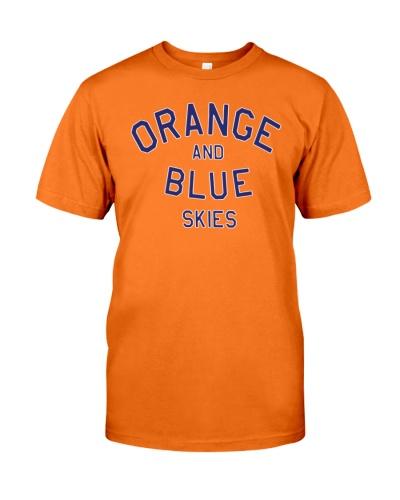 orange and blue skies shirt