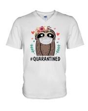 Quarantined Sloth V-Neck T-Shirt thumbnail
