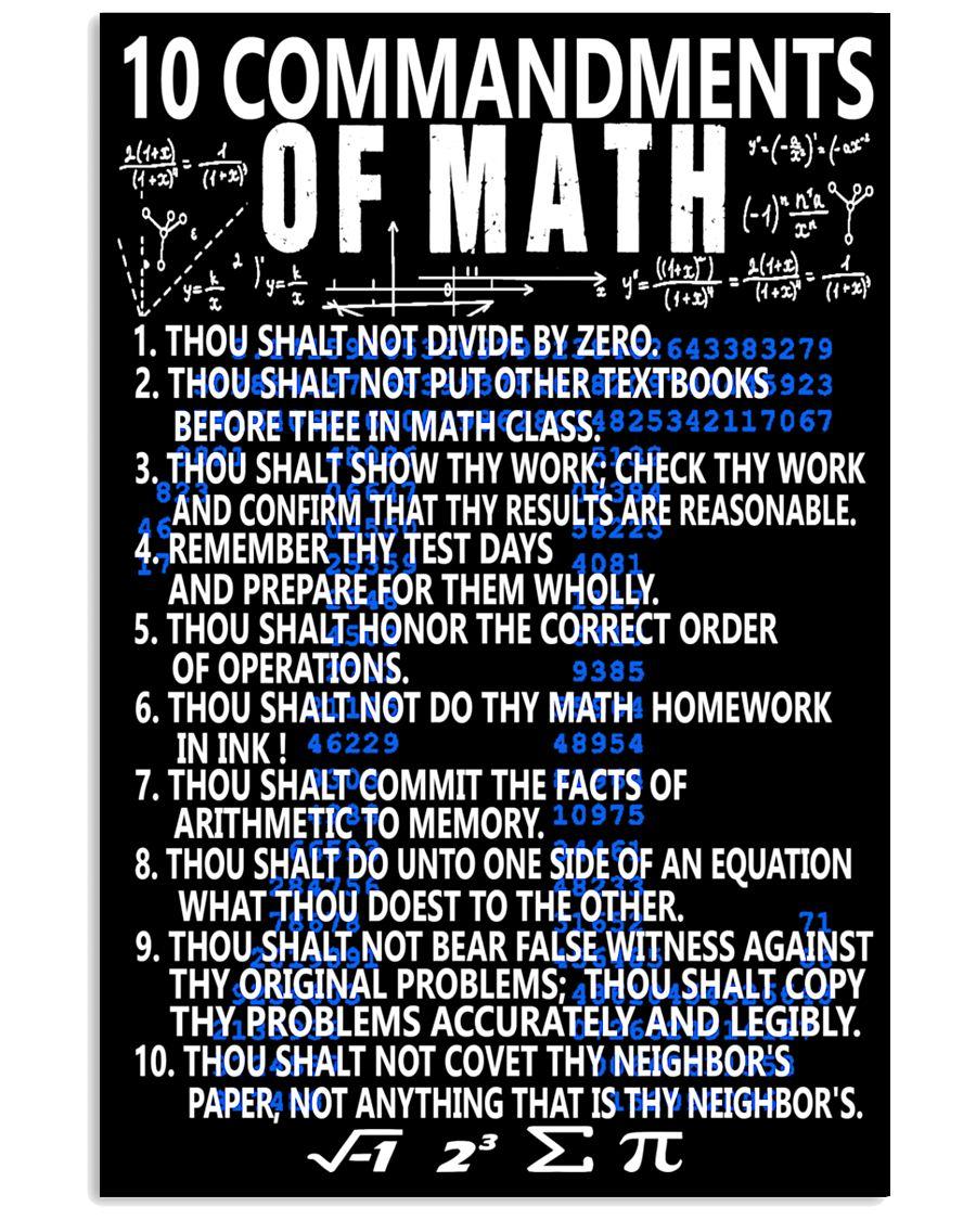 10 commandments of Math 16x24 Poster