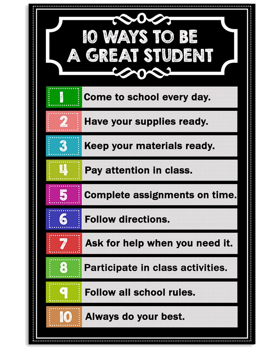 10 ways to be a great student 16x24 Poster