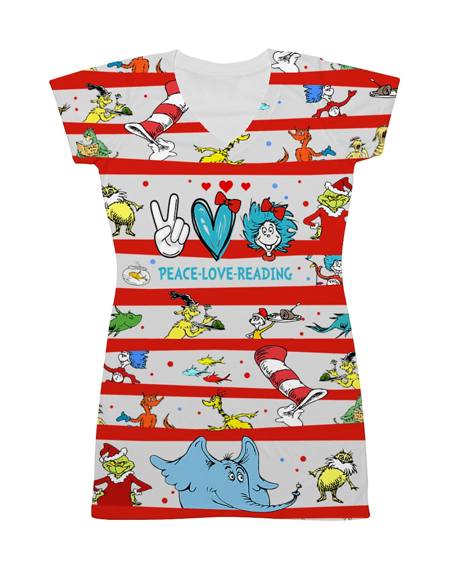 Peace Love Reading All-over Dress