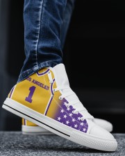 Los Angeles Basketball Customizable Men's High Top White Shoes aos-complex-men-white-top-shoes-lifestyle-02