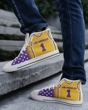 Los Angeles Basketball Customizable Men's High Top White Shoes aos-complex-men-white-top-shoes-lifestyle-05