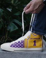 Los Angeles Basketball Customizable Men's High Top White Shoes aos-complex-men-white-top-shoes-lifestyle-06