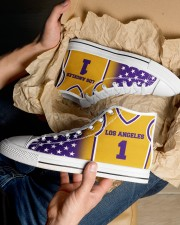 Los Angeles Basketball Customizable Men's High Top White Shoes aos-complex-men-white-top-shoes-lifestyle-10