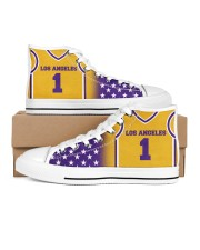 Los Angeles Basketball Customizable Men's High Top White Shoes inside-right-outside-right