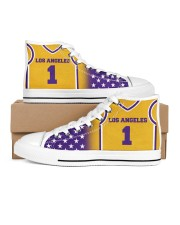 Los Angeles Basketball Customizable Women's High Top White Shoes thumbnail