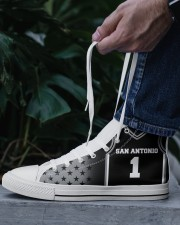 San Antonio Basketball Customizable Men's High Top White Shoes aos-complex-men-white-top-shoes-lifestyle-06