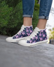 pinky Llama Women's High Top White Shoes aos-complex-women-white-top-shoes-lifestyle-08