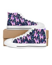 pinky Llama Women's High Top White Shoes outside-right-inside-right