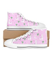 pinky alpaca Women's High Top White Shoes outside-right-inside-right