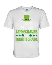 4th Fourth Grade Paddys St Patricks Day Teacher V-Neck T-Shirt thumbnail