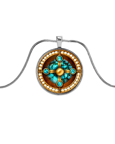Turquoise Native American Style Medicine Wheel