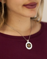 Southwest Native American Medicine Wheel Mandala  Metallic Circle Necklace aos-necklace-circle-metallic-lifestyle-1
