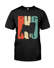 Vintage style pug silhouette Classic T-Shirt front