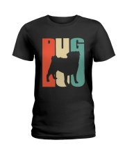 Vintage style pug silhouette Ladies T-Shirt thumbnail