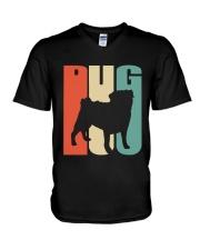Vintage style pug silhouette V-Neck T-Shirt thumbnail