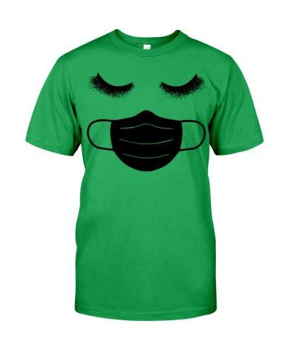 eyelashes with facemask shirt