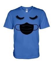 eyelashes with facemask shirt V-Neck T-Shirt thumbnail