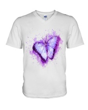 Purple Butterfuly V-Neck T-Shirt thumbnail