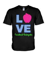 Love Transitional Kindergarten Shirt For Teacher K V-Neck T-Shirt front