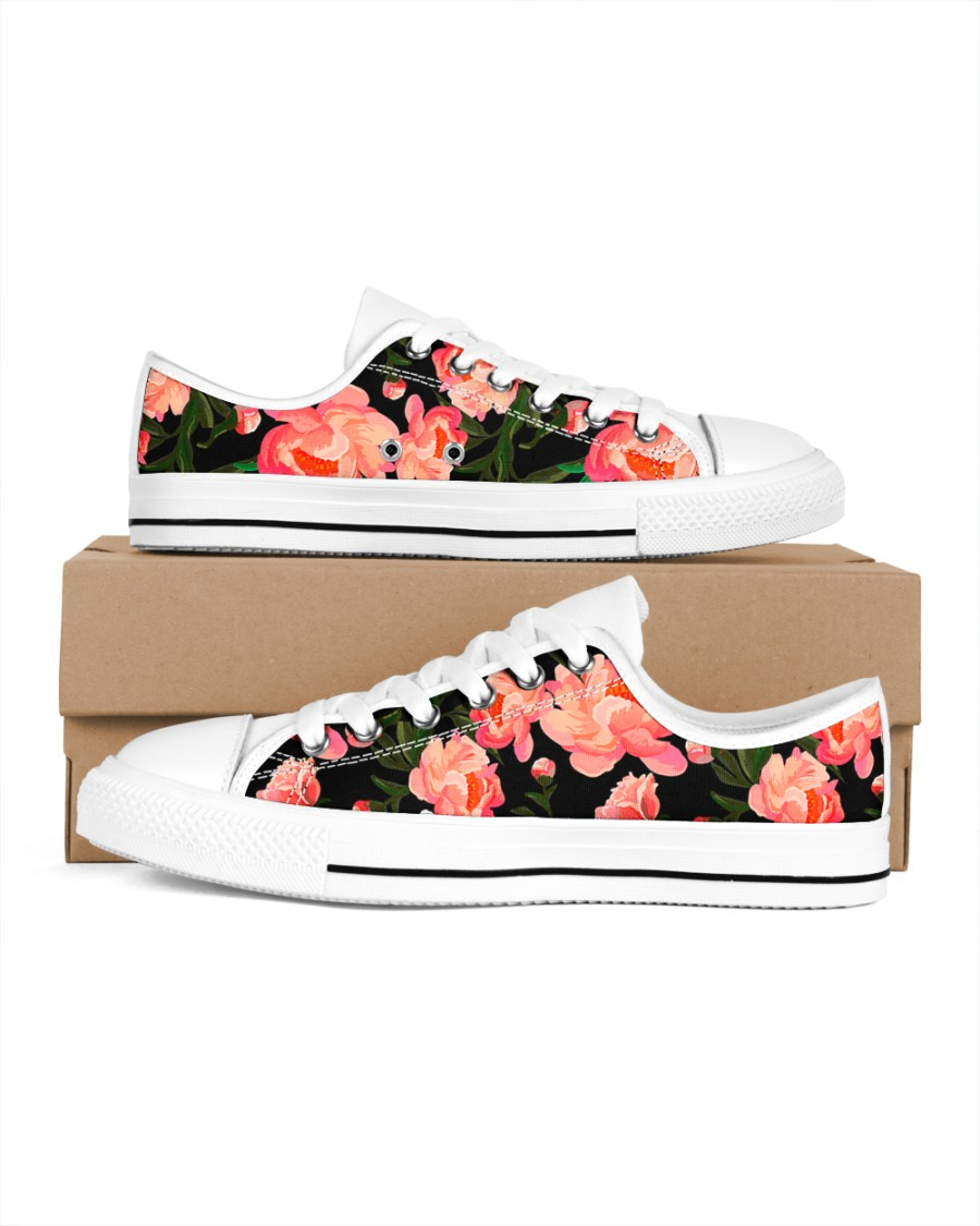 Shoes decorated with flowers Women's Low Top White Shoes