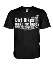 Dirt Bikes make me happy V-Neck T-Shirt thumbnail
