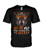 The Wolf Tshirt - Font print V-Neck T-Shirt tile
