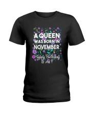 A Queen Was Born In November Ladies T-Shirt thumbnail