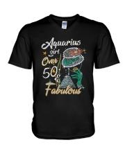 Aquarius Girl Fabulous And Over 50  V-Neck T-Shirt thumbnail
