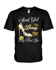 April Girl Living My Best Life V-Neck T-Shirt thumbnail