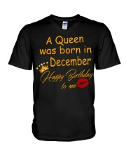 A Queen Was Born In December V-Neck T-Shirt thumbnail