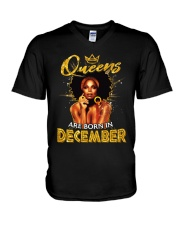 Queens Are Born In December V-Neck T-Shirt thumbnail