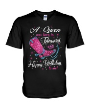 A Queens Was Born In February V-Neck T-Shirt thumbnail