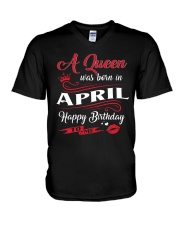 A Queen Was Born In April  V-Neck T-Shirt thumbnail