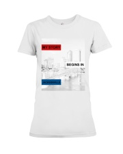 MY STORY BEGINS IN JACKSONVILLE Premium Fit Ladies Tee tile