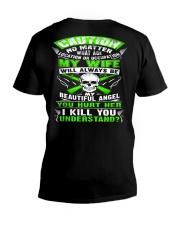 CAUTION HUSBAND V-Neck T-Shirt tile