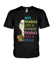 NOT FRAGILE LIKE A FLOWER V-Neck T-Shirt thumbnail