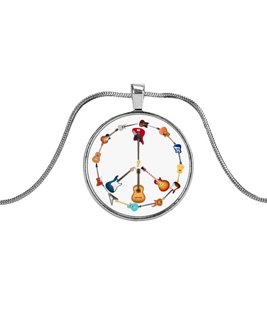 GUITAR AND PEACE Metallic Circle Necklace