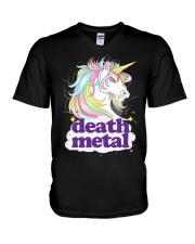 Death Metal Unicorn V-Neck T-Shirt thumbnail